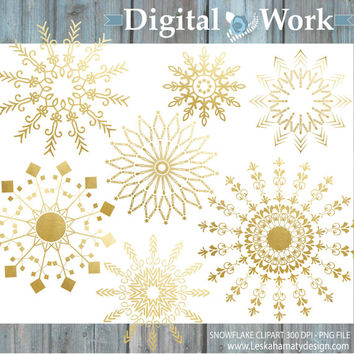 "Gold Clipart: ""Gold Snowflake"" Digital clipart for commercial use - Christmas clip art - Digital Snowflake in gold - Gold christmas clipart"