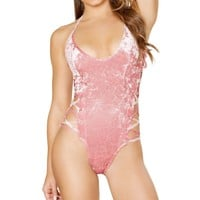 Lace Up Velvet One Piece- Peachy Keen