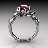 Nature Inspired 14K White Gold 2.0 Carat Oval Ruby Diamond Lotus Flower Engagement Ring R1013-14KWGDR