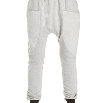 DailyLook: Quilted Pocket Harem Sweatpants in Gray