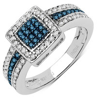 0.49 Carat Genuine Blue Diamond & White Diamond .925 Sterling Silver Ring