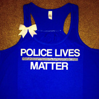 Police Lives Matter - Thin Blue Line Tank - Police Wife Tank - Law Enforcement - Fitness Clothes - Ruffles with Love