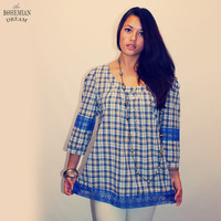 Bohemian Blouse Top Plaid Tartan Shirt Blue Lace Button Boho Hippie Upcycled Recycled Clothes Eco Friendly OOAK by TheBohemianDream