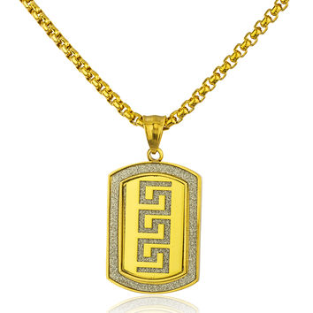 Stainless Steel Greek Key Sandblast Pendant with a 24 Inch Round Box Chain (Goldtone)