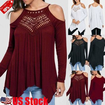 Women's Sexy Halter Cold Shoulder Long Sleeve Tee Top Blouse T Shirt Loose S-2XL