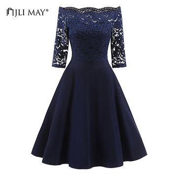 JLI MAY Elegant autumn lace dress women off shoulder solid three quarter sleeve midi Black burgundy vintage ladies party dresses