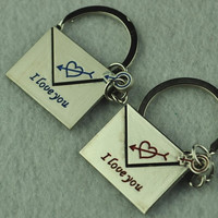 1 Pair Lovely Love Me Write To Me Forever Love Key Chain Keyring Keyfob Lover Couple Cute Gift Ring = 1929972164