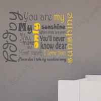 You are my sunshine wall decal, decal, wall graphic, subway art vinyl decal, wall words sticker, typography, vinyl graphic wall decal