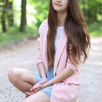Pink Notched Collar Long Coat