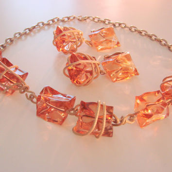 Chunky Translucent Amber Lucite  Bead Necklace & Drop Earrings