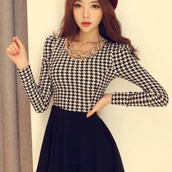 Houndstooth Black Patchwork Irregular Round Neck Women's Long Sleeve Fashion Above Knee Dress