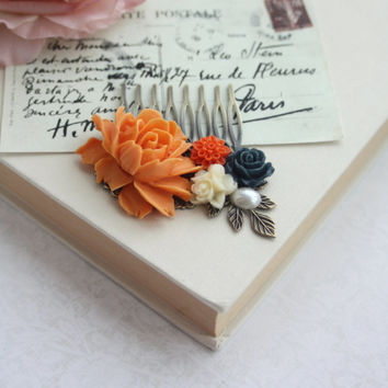 Orange Rose Flower, Navy Dark Blue, Ivory Flowers, Pearl Antiqued Brass Hair Comb. Orange and Blue Wedding Bridesmaid Gifts, Wedding Bridal