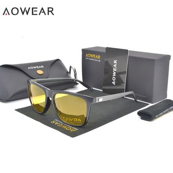 AOWEAR HD Night Vision Glasses Men Aluminium Yellow Lens Sunglasses Men Polarized Night Safe Driving Goggles Oculos Gafas De Sol