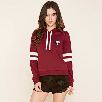 """""""Forever21"""" Fashion Casual Cool Female Alien Embroidery Multicolor Stripe Long Sleeve Hooded Sweater Short Section Tops"""