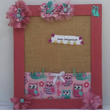 Back to School Owl, Pink Owl Bulletin Board, Dorm Gift & Decor, College gift, Homework Organizer Board, Girl's Gift Decor