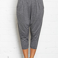 FOREVER 21 Stretch-Knit Harem Gym Pants Charcoal Heather X-Small