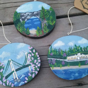 Mackinac Island Ornaments - hand painted wood slice ornaments with hand painted scenes