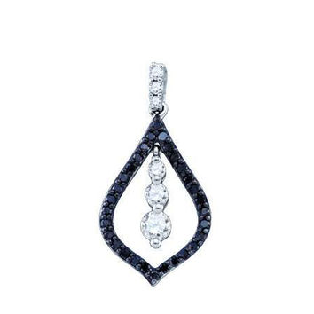 Black Diamond Fashion Pendant in 10k White Gold 0.49 ctw