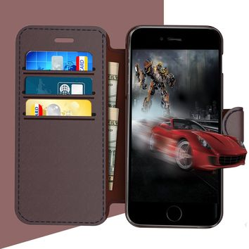iPhone 8 plus / iPhone 7 plus Leather Wallet Case with Metal Magnetic, Slim Fit and Heavy Duty, TAKEN Plastic Flip Case / Cover with Rubber Edge, for Women, Men, Boys, Girls, 5.5 Inch (Coffee)