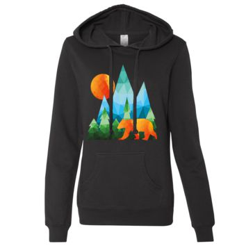 California National Forest Bear Ladies Lightweight Fitted Hoodie