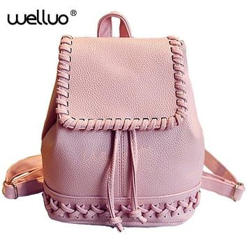Cute Girls Weaving Drawstring Mini Backpack Women School Bag Pu Leather Embossed Shoulder Bags Rucksack Mochila Feminina XA559B