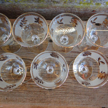Vintage glassware, bar cart cocktail glasses, MCM frosted liquor cordials,  Vintage Libbey Golden Foliage bar glasses, sherbet dessert glass
