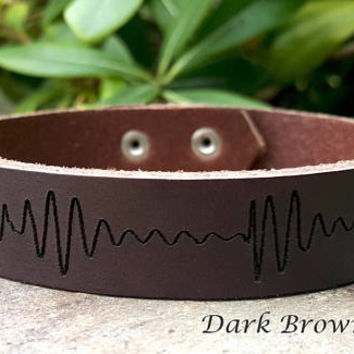 Men's Personalized Soundwave Bracelet, Heart Beat Bracelet, Custom Engraved Leather Bracelet, Genuine Leather Cuff, Christmas Gift for Him