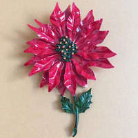 Red Poinsettia Brooch Red Green Enamel over Metal  - Vintage Winter Christmas Flower - Mod Floral Jewelry