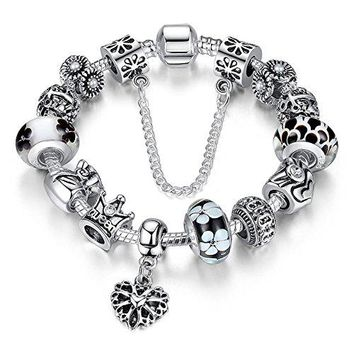 ATE Charm Bracelet ldquoQueenrdquo Crystal and Murano Glass Beads with Safety Chain for Women JWB110