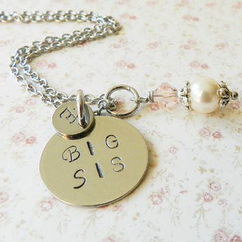 Personalized Big Sis Necklace, stainless steel, name necklace, monogram, gift big sister, Little Girl Gift, Pink charm Necklace, Europe