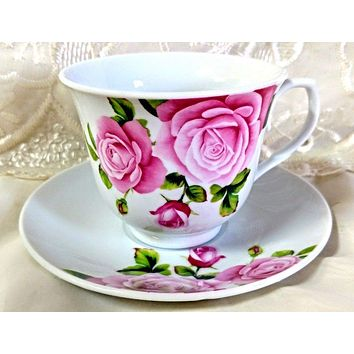 6 Pink Rose Bulk Porcelain Inexpensive Teacups (Tea Cups) & Saucers $5.95 Flat Rate Shipping or Add 1 More Set for FREE Shipping!