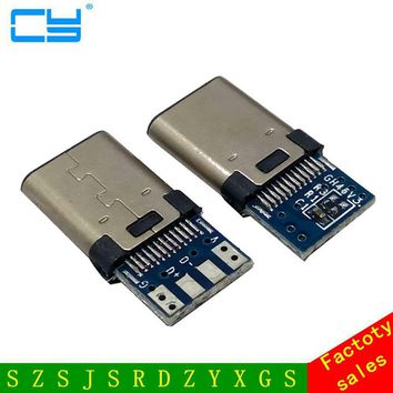 10pcs DIY OTG USB-3.1 Welding Male jack Plug USB 3.1 Type C Connector with PCB Board Plugs Data Line Terminals for Android