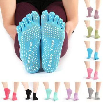 PEAPLO3 snowshine3 #4503   Womens Cotton Colorful Yoga Gym Non Slip Massage Toe Socks Full Grip With Socks Heel