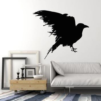 Vinyl Wall Decal Black Raven Blot Bird Gothick Style Stickers Unique Gift (1688ig)