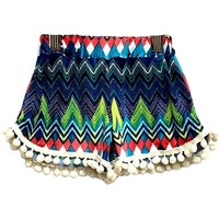 Toddlers Printed Tassel Short, Multi (Size 3T)