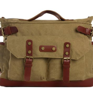 Waxed Canvas with Leather Travel Messenger Bag - Khaki