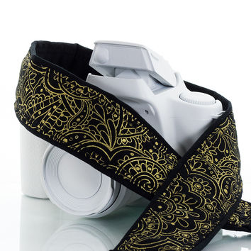 114 Black and Gold paisley Camera strap
