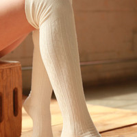 Straight and Narrow Boot Socks (Ivory)