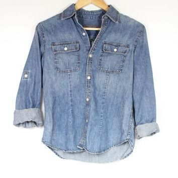 Ralph Lauren washed denim roll-up long sleeves CHAMBRAY button up miliarty shirt minma