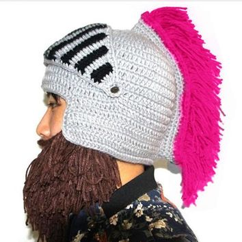 Roman Knight Warrior Cosplay Bearded Beanie Knitted Hat