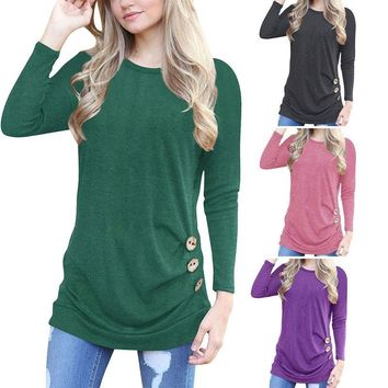 Womens Fashion Ruched Button Blouse Tops Ladies Casual Slim T-shirt