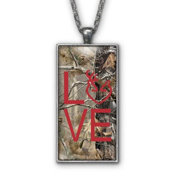 Red Camo Love Browning Pendant Necklace Jewelry