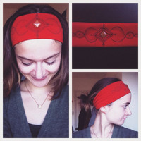 Wide Colorful Red Jersey Goldstone Headband - Crystal Healing Headband - Hippie Boho Headband - Yoga Headband - Meditation Headband - Reiki