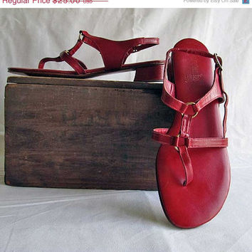 Hello Spring Sale 8 Red Leather Sandals Vintage 1970's Strawberry Red Sandals by Serenata Made in Italy