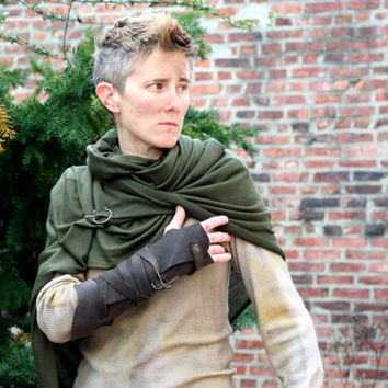 Post Apocalyptic Shawl Wrap, Charcoal Leather Bracer, Drab Green Drape Wrap, Shoulder Cowl, Vambrace, Leather Wrap
