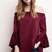 Prescott Off Shoulder Satin Blouse - Burgundy