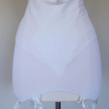 Vintage white girdle with garter straps and pockets for rear padding large