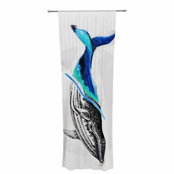 "Ivan Joh ""Whale"" Blue White Illustration Decorative Sheer Curtain"