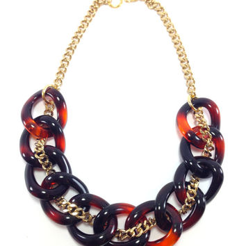 Chloe Tortoise shell Chain necklace, Chunky Necklace, Statement Necklace, Resin Links,  Acrylic Necklace, Oversized Chain, Brandy
