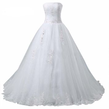 Fashion Ball Gown Wedding Dresses Bride Bandage Tulle Princess Dress Bow Applique Ball Gown Wedding Dresses